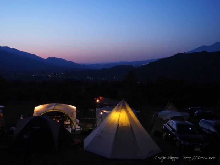 オートキャンプ牧場チロル 絶景 日没