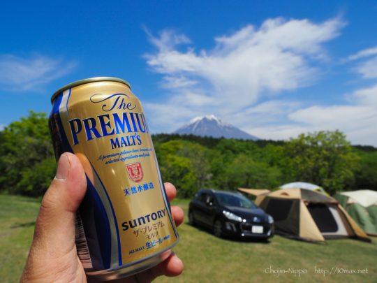 朝霧ジャンボリーオートキャンプ場, プジョー308SW, 富士山, ビール, プレモル