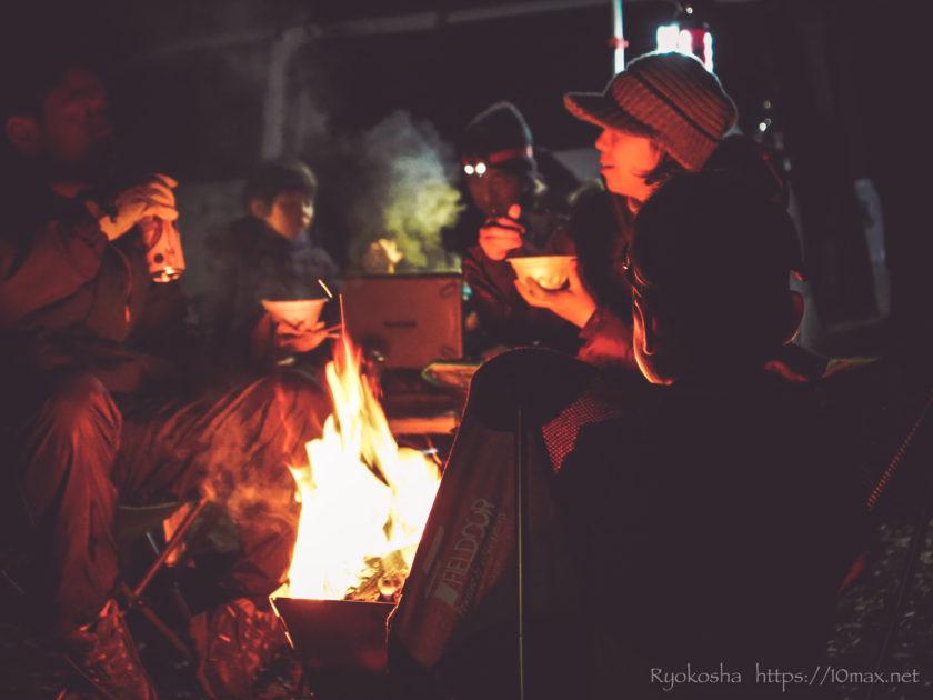 かずさオートキャンプ場 焚き火 冬キャンプ