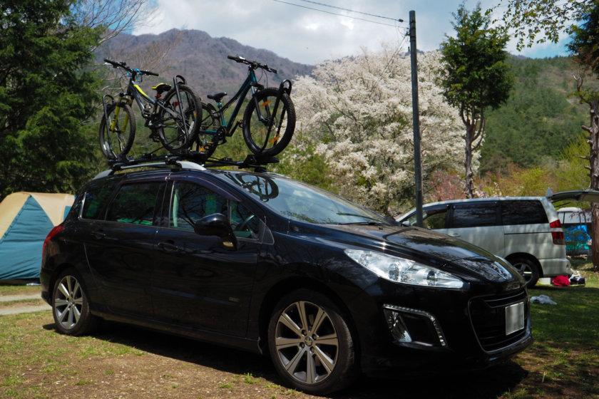 初挑戦!キャンプでMTB@西湖テント村 3/3 自転車ルーフトップ車載考察ならびにinno タイヤホールド2レビュー