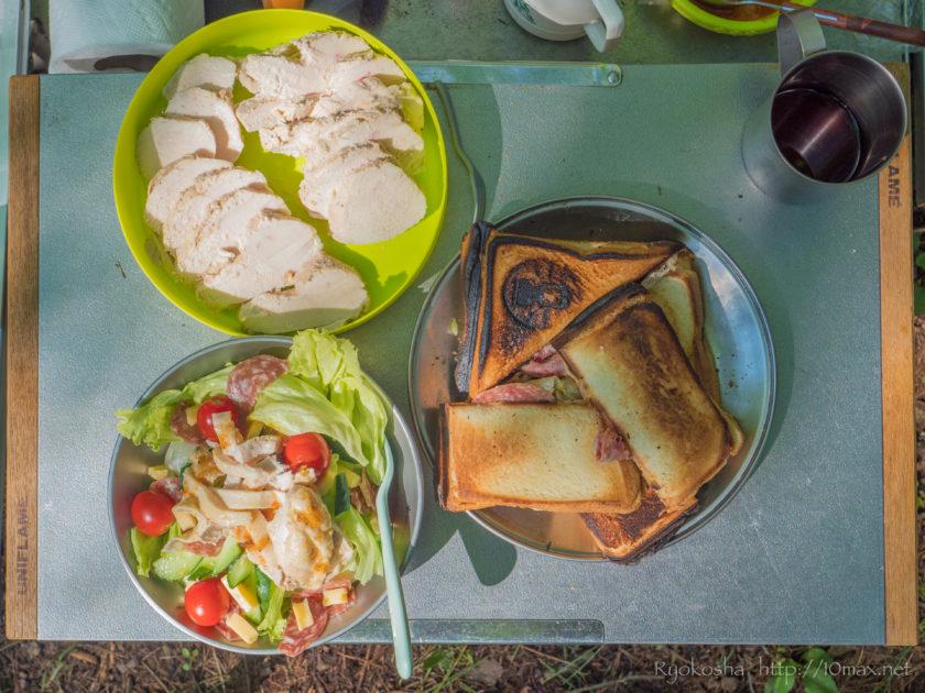 キャンプ 朝食 ホットサンド 鶏ハム