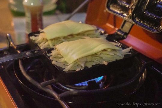 キャンプ飯 ポテト ハム チーズ ホットサンドメーカー