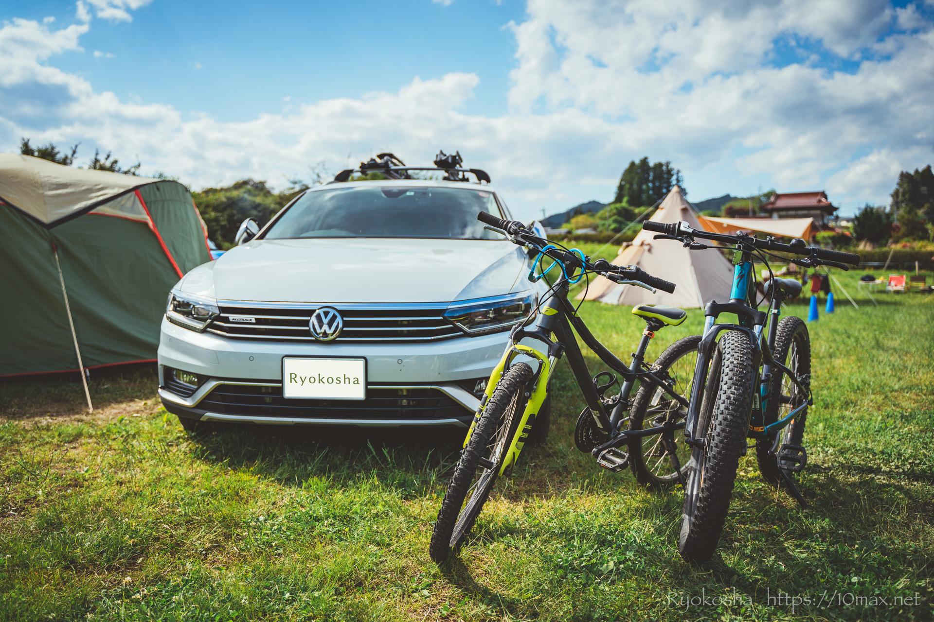 上小川キャンプ場 パサートオールトラック ルーフトップサイクルキャリア INNO INA389 タイヤホールド2 キャンプレポート ブログ